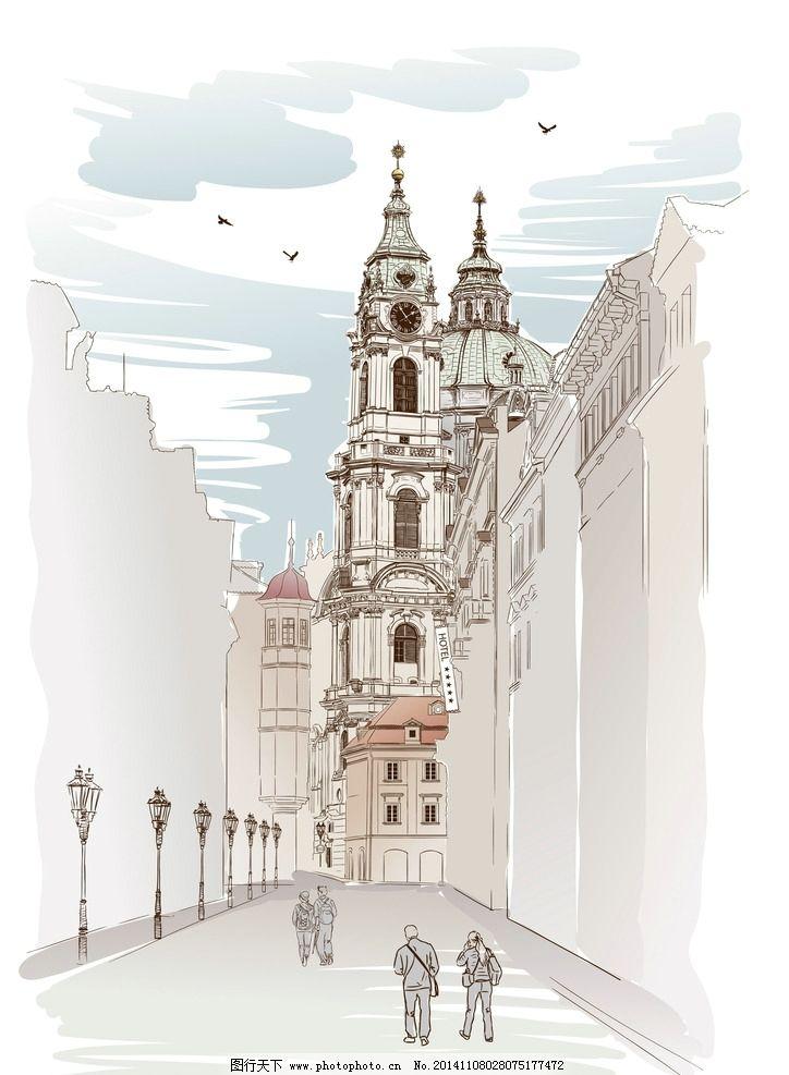 水彩建筑 手绘 水墨城镇 建筑设计 国外建筑 城市建筑 建筑家居 矢量
