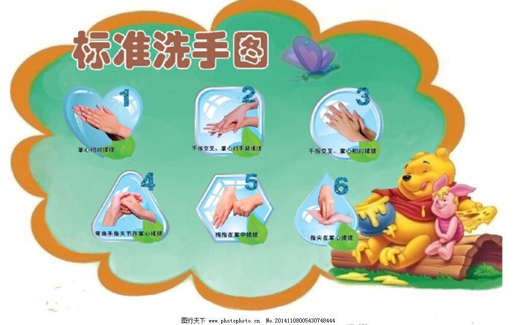 卡通设计 设计 洗手 标准洗手 洗手六步骤 洗手方法 洗手步骤 洗手