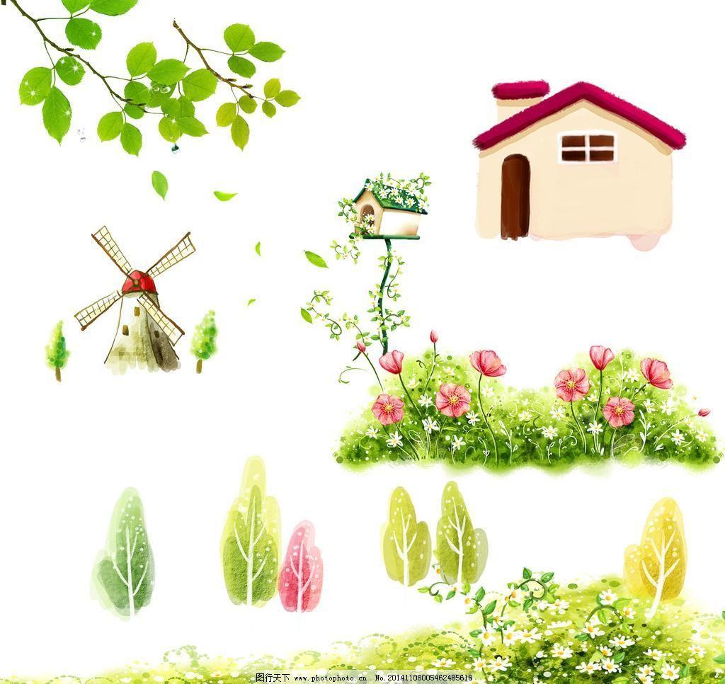 幼儿园素材 卡通素材 矢量素材 手绘 装饰素材 树叶 树藤 风车 荷兰