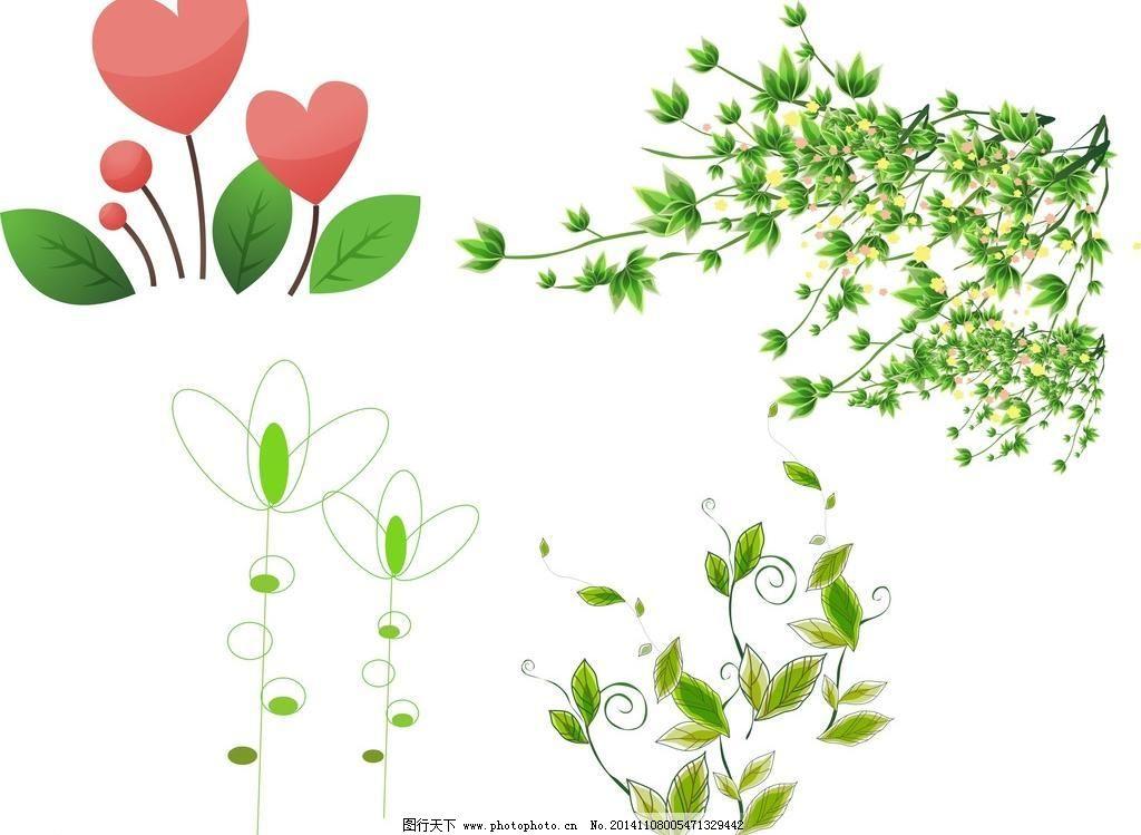 矢量树叶 花朵 春季素材 春天素材 儿童素材 粉色花朵 广告设计