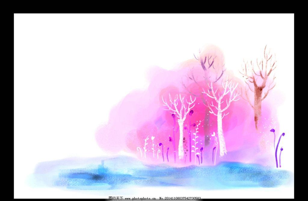 生活百科 电脑网络  风景插画 韩国插画 梦幻 彩色 水彩 手绘 春天图片