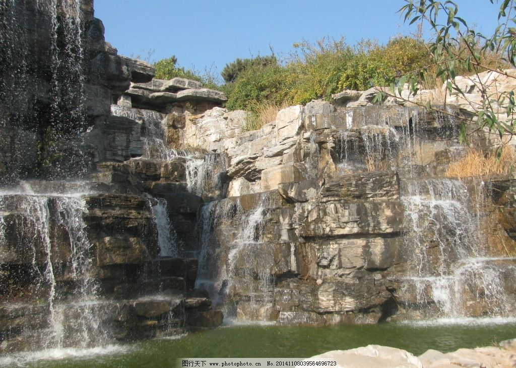 山石 假山 瀑布 溪水 湖水 景观石 园林绿化 园林 园林景观 装饰画