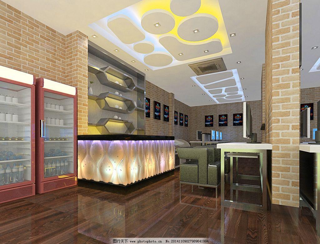 网吧前台效果图 暖色 网络会所 现代风格 装修 工装