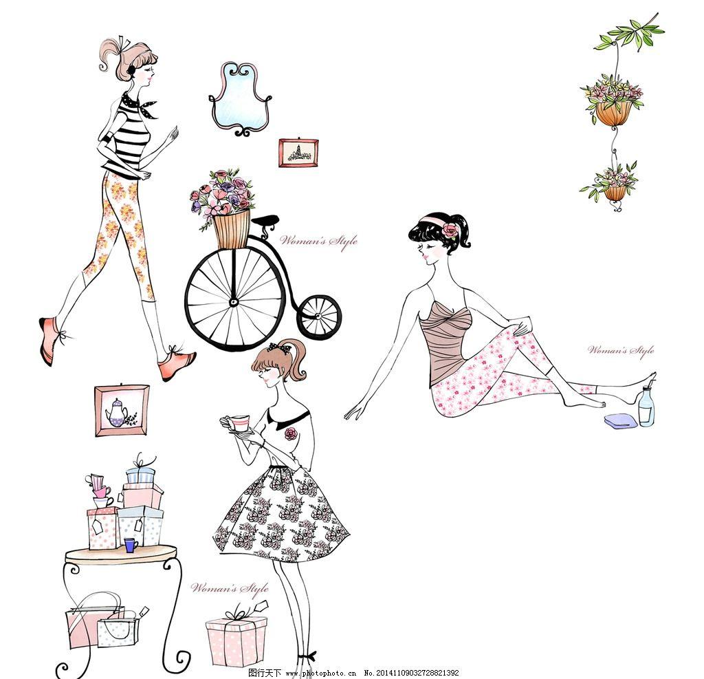 手绘女人 花篮 相框 裙子 自行车