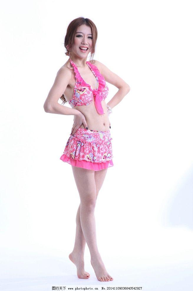 掐腰美女 粉红比基尼 长腿美女 性感美女 性感美腿 超短裙 性感露肩