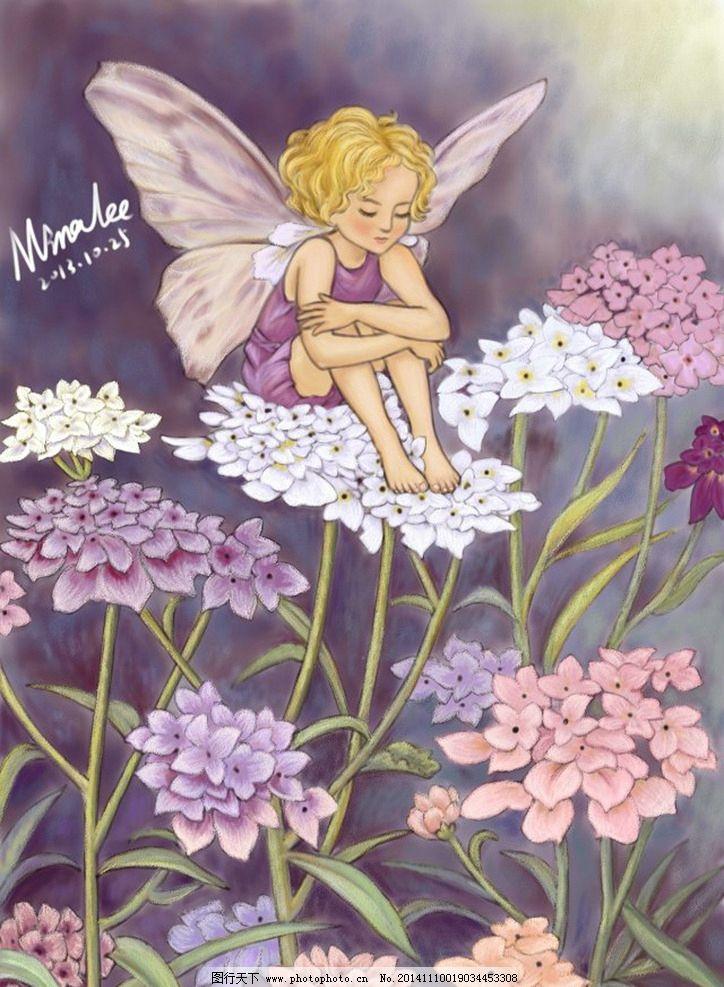 带翅膀小女孩 花朵