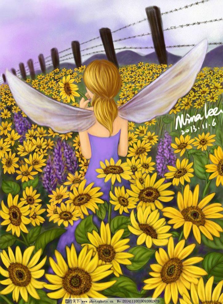 向日葵 天使 翅膀 女孩