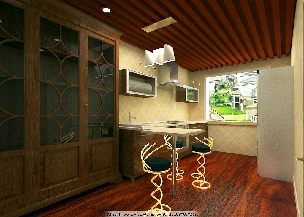 欧式吧台橱柜 生态木 酒吧 效果图