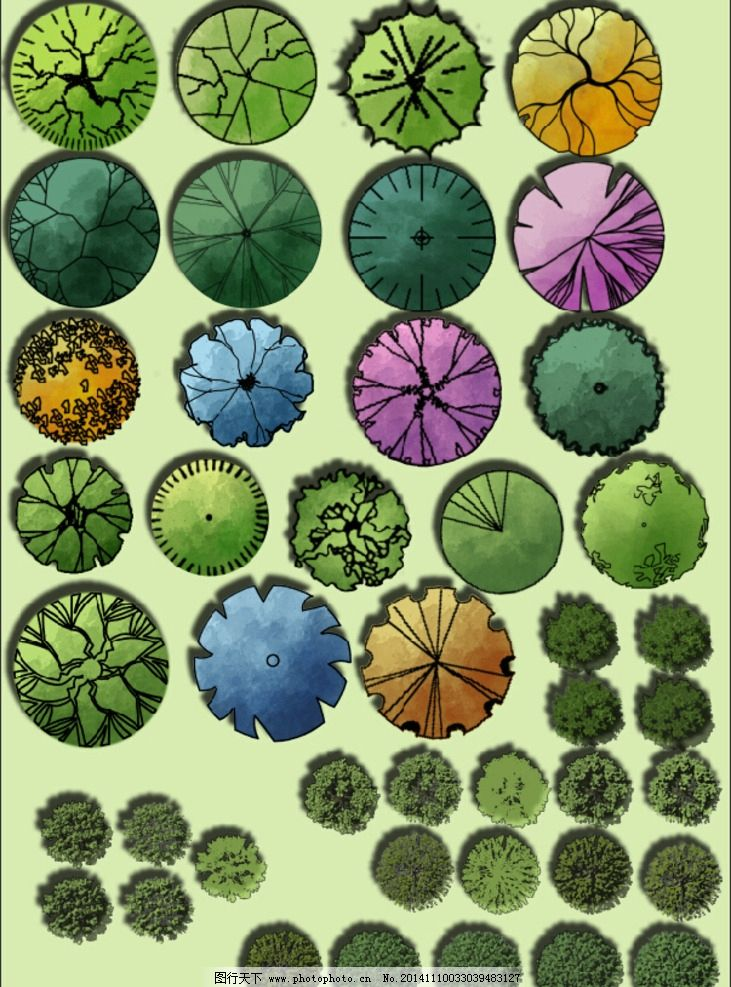 ps植物平面图例 手绘风格 园林