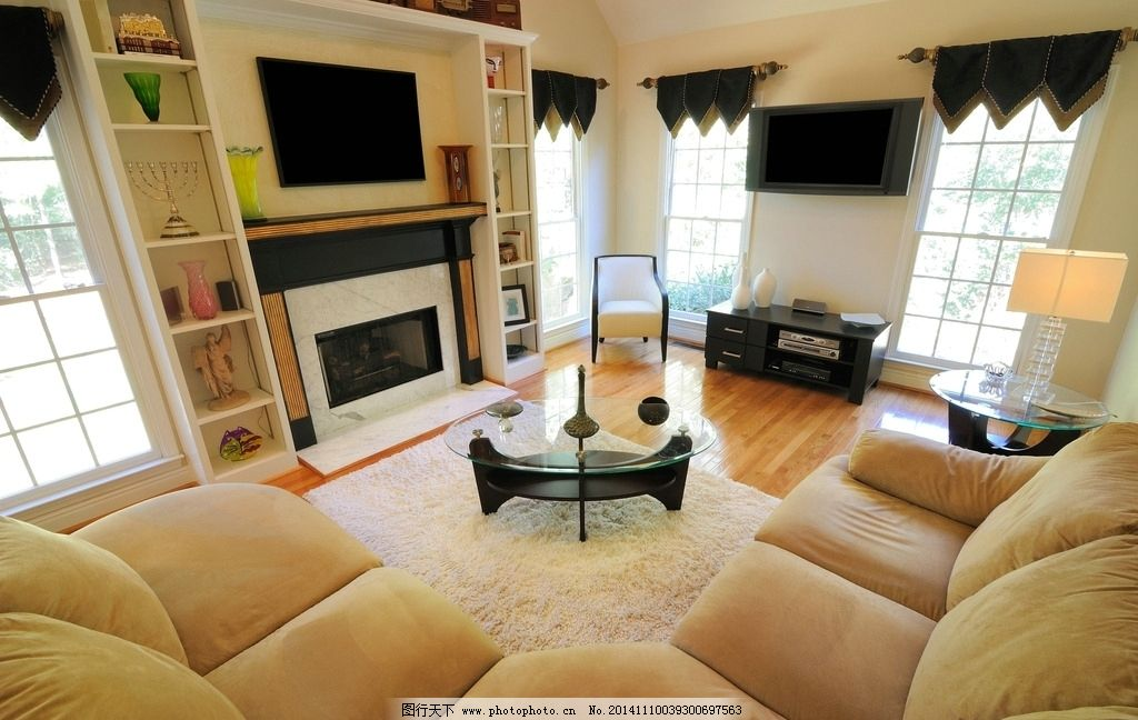 客厅 沙发 茶几 壁炉 木地板 地毯 装修 家具 室内摄影 摄影