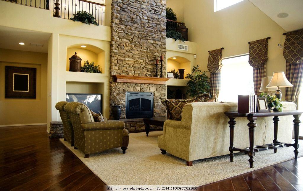 客厅 沙发 茶几 壁炉 木地板 地毯 装修 家具 室内摄影 摄影图片