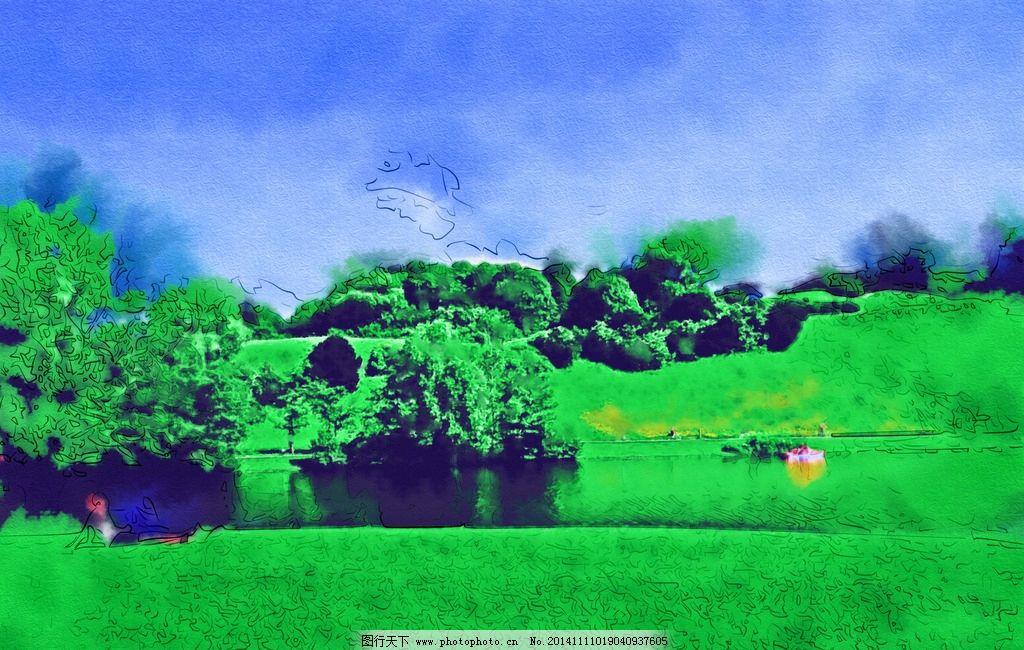 油画 现代油画 手绘 风景写真 电脑合成油画 水彩画 毛刷油画 静态写