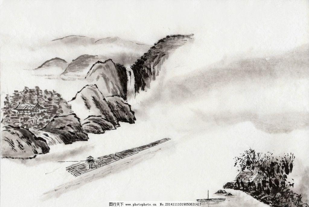 中国水墨画 中国国画 风景 画家 古画 水墨风景 画画 素描 山水画