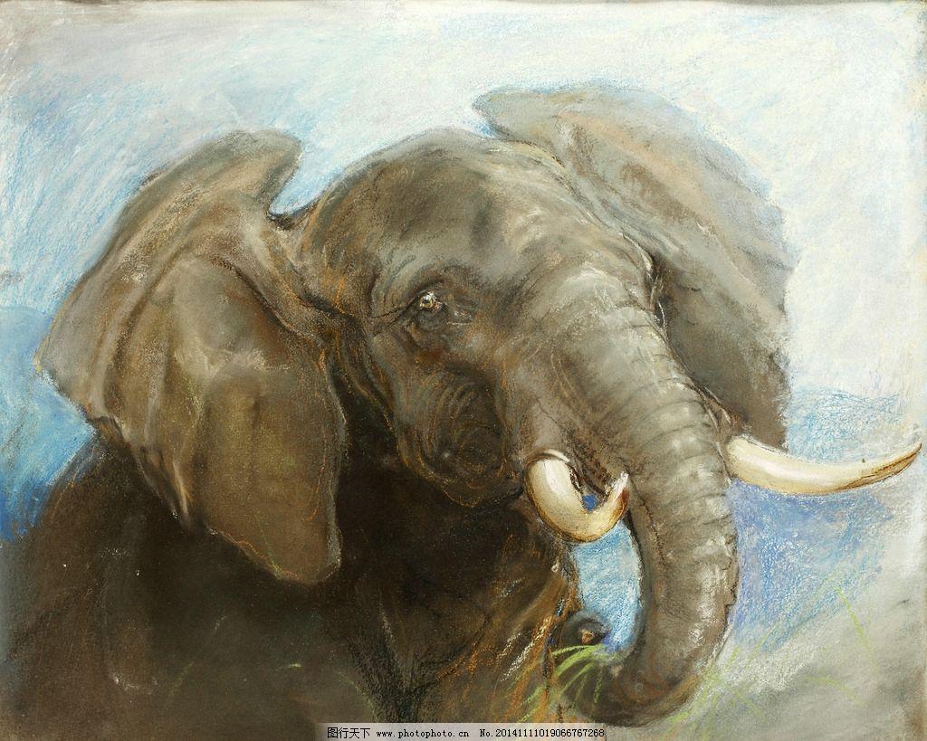 非洲草原之王 巨大的耳朵 牙齿 半身 20世纪油画 油画 设计 文化艺术