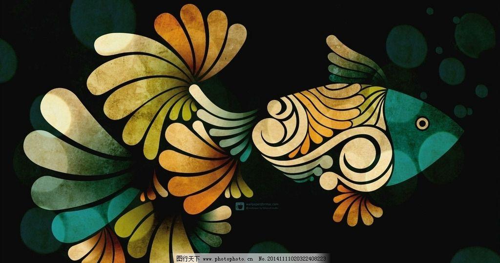 彩绘 彩色玻璃 热带鱼 装饰画 花瓣图案 创意设计 桌面 素材 设计