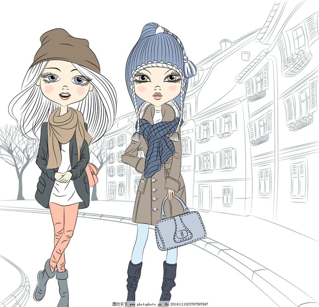 浪漫 手绘 女性 女子 可爱 素描 时尚女孩 速写插图 女生 休闲 漂亮