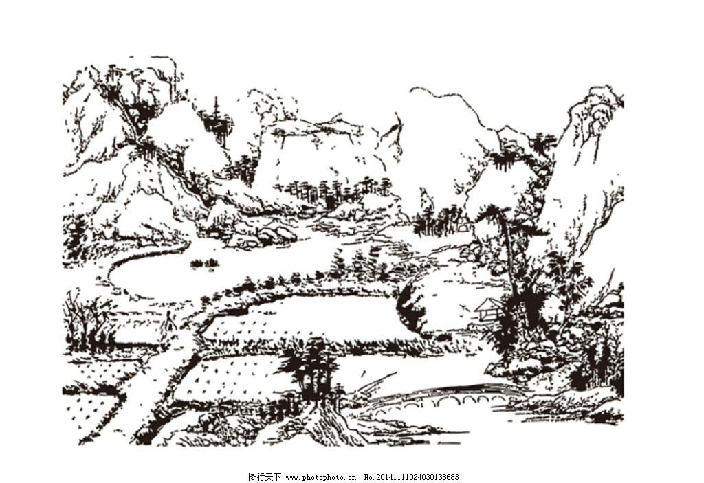 山间 田野 山水线描 山水矢量图 矢量背景 设计 自然景观 自然风光