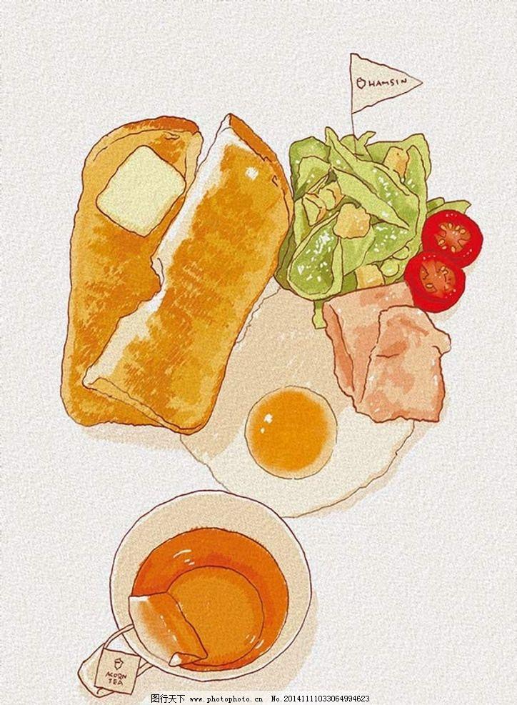 手绘 小清新 简笔画 铅笔画 淡彩 蜡笔 小资 鸡蛋 茶 火腿 菜 面包