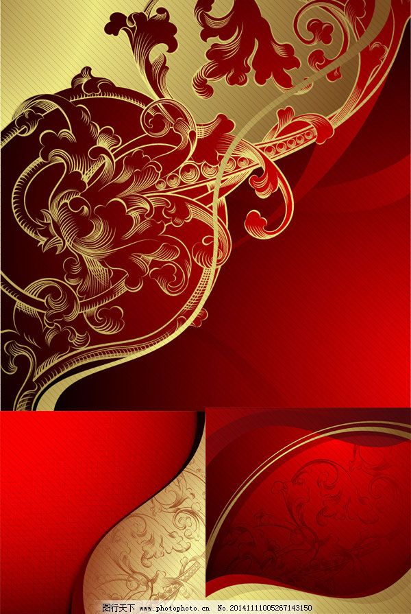 高贵金色红色背景欧式华丽花纹背景矢量素材