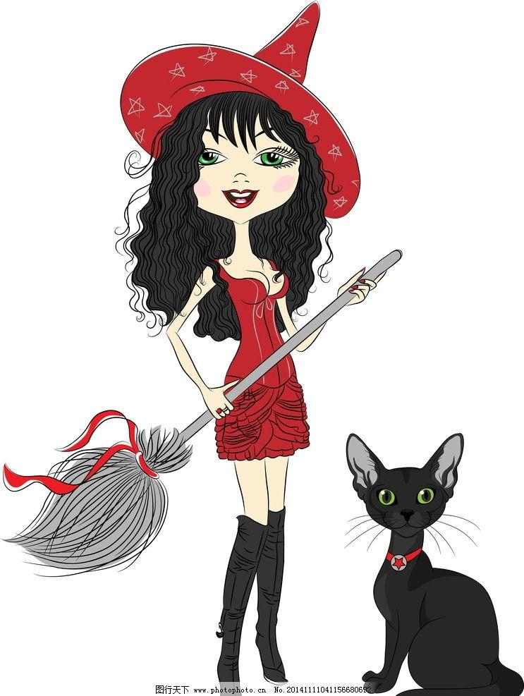 手绘卡通少女 手绘美少女 女巫 小女孩 女人 时尚美女 卡通美女