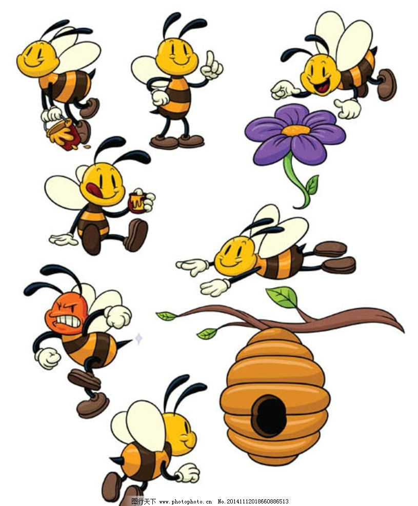 卡通小蜜蜂 卡通动物 卡通形象 可爱动物 拟人化 矢量动物 动漫动画