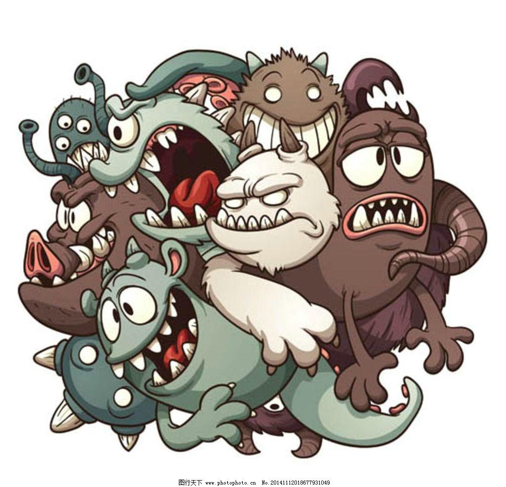 卡通怪兽 卡通动物 卡通形象 可爱动物 拟人化 矢量动物 设计 动漫