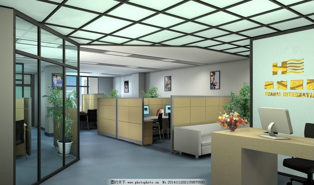 公司办公室设计图片,屏风 背景墙 吊顶 灯光 走道-图