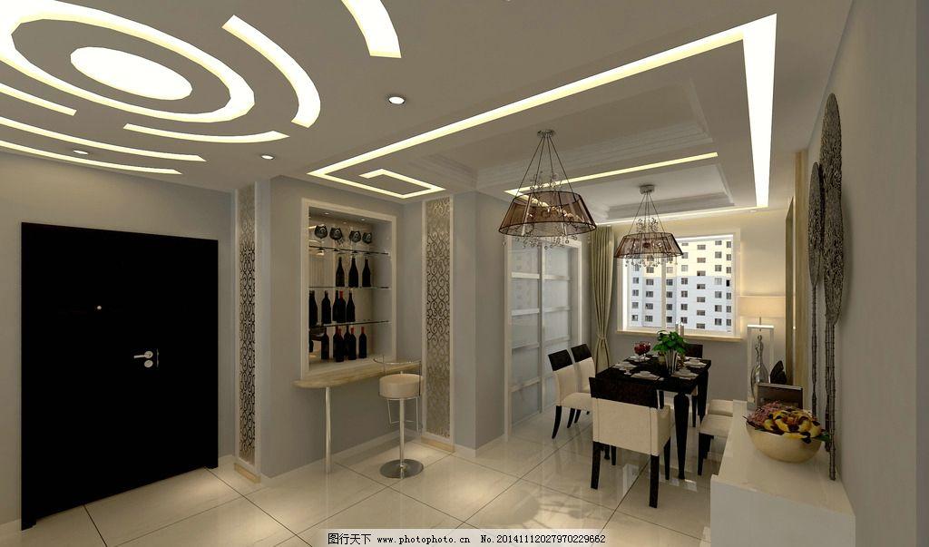 餐厅效果图 过道吊顶 装饰酒柜 背景墙      设计 环境设计 室内设计图片