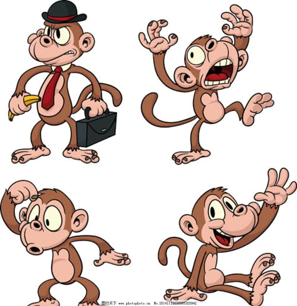 卡通小猴子 卡通动物 卡通形象 可爱动物 拟人化 矢量动物 动漫动画