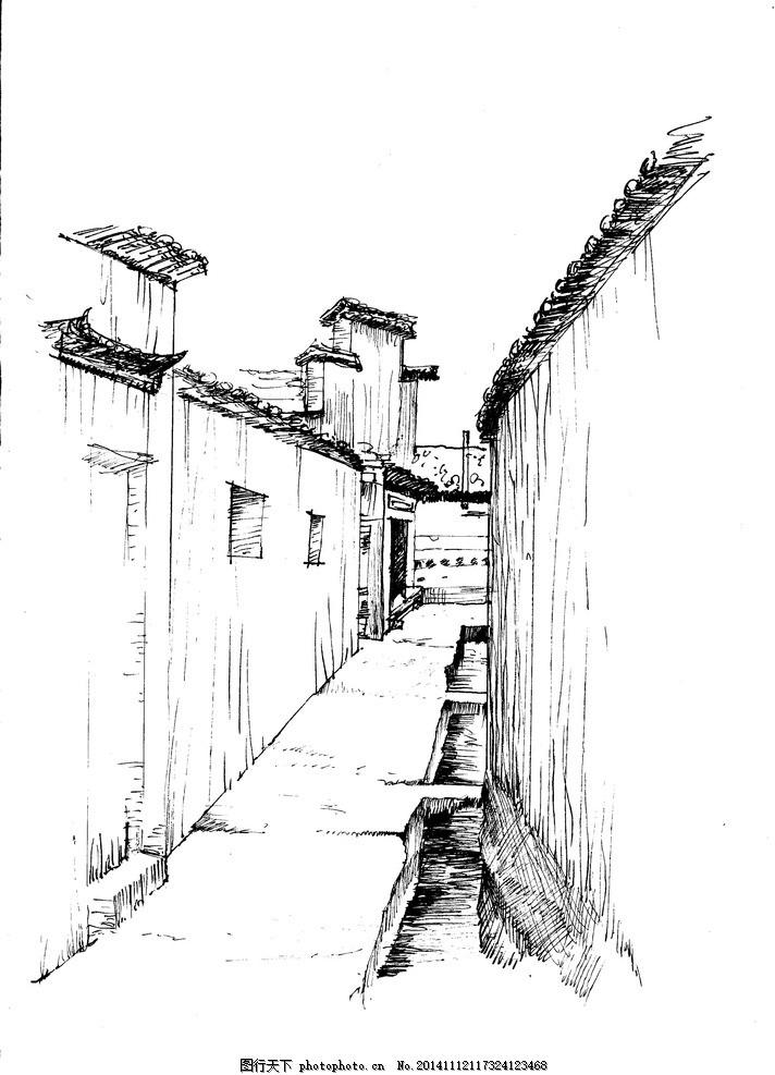 古巷 手绘 线稿 黑白 景观 设计 文化艺术 绘画书法 300dpi jpg