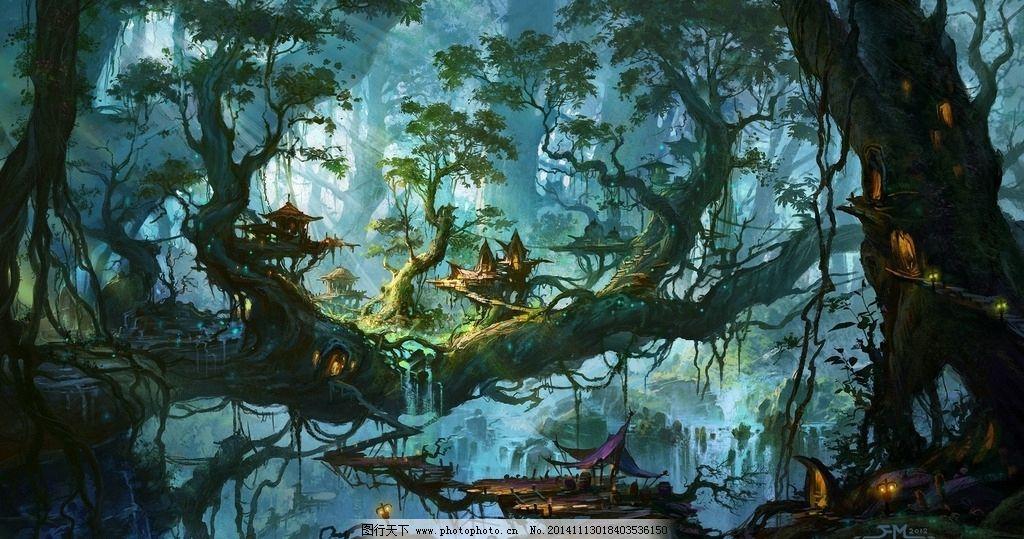 手绘森林图片大全