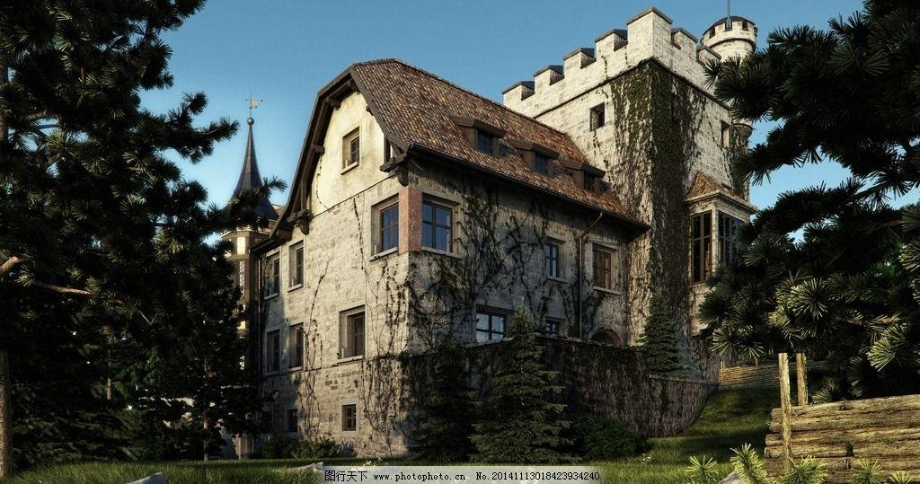 城堡原画 背景 手绘 房子 森林小屋 动漫动画