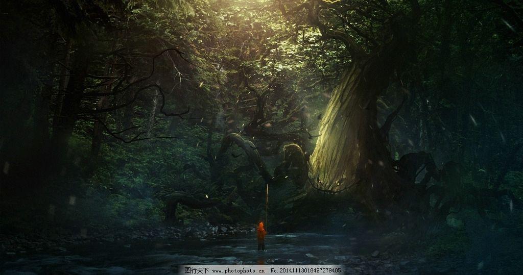 幽暗魔幻奇景原画奇迹魔法森林黑暗背景手绘梦幻大树密林图片