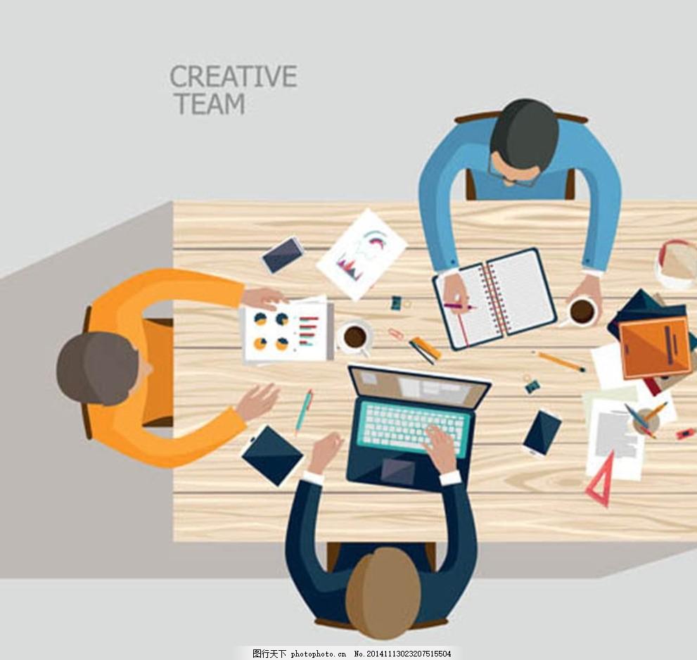 人物与办公场所元素矢 矢量素材 矢量图 扁平化 俯视图 顶视图 办公桌