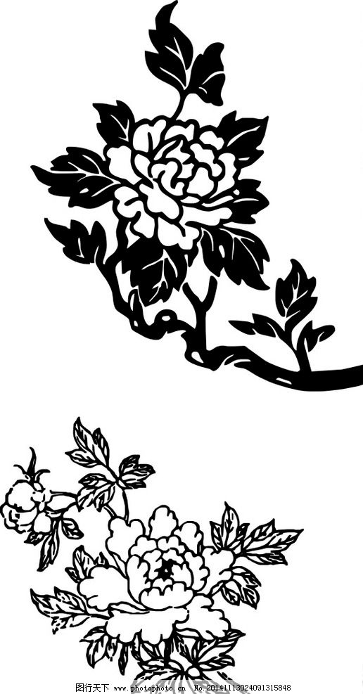 牡丹花简笔画 无限放大 好看的牡丹花 黑白牡丹花