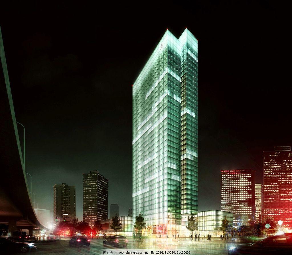 汽车 马路 人物 广场 灯光效果 树木 房屋 建筑物 深黑色天空 设计