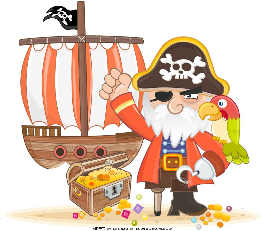 宝箱简笔画-海盗船卡通人物