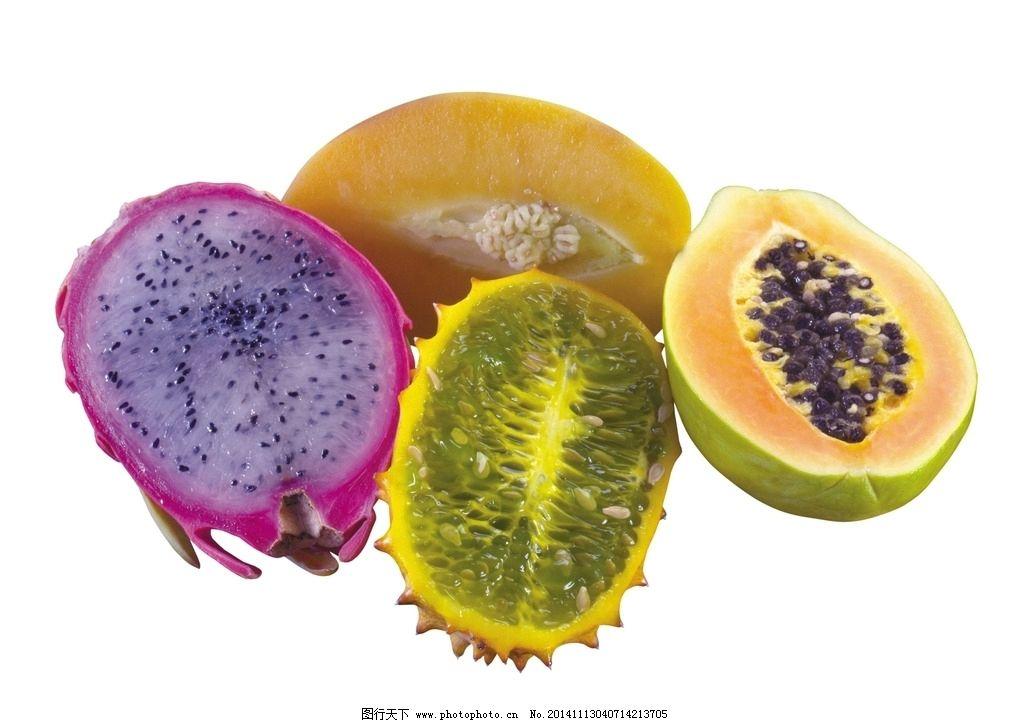 木瓜 火龙果 红皮火龙果 黄皮火龙果 切开的火龙果 切开的木瓜 水果图片
