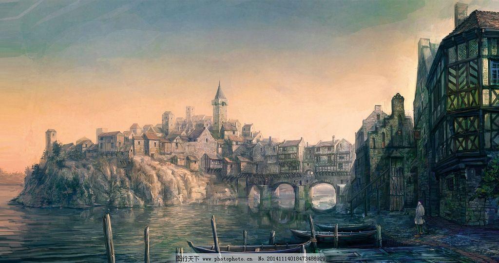 城镇原画 手绘 背景 房子 欧美 古典 船 码头 动漫动画
