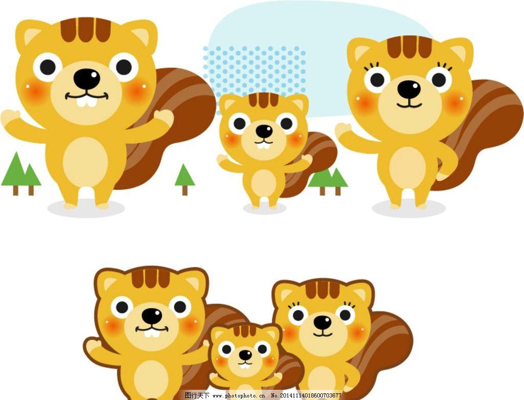 可爱卡通矢量小松鼠图片