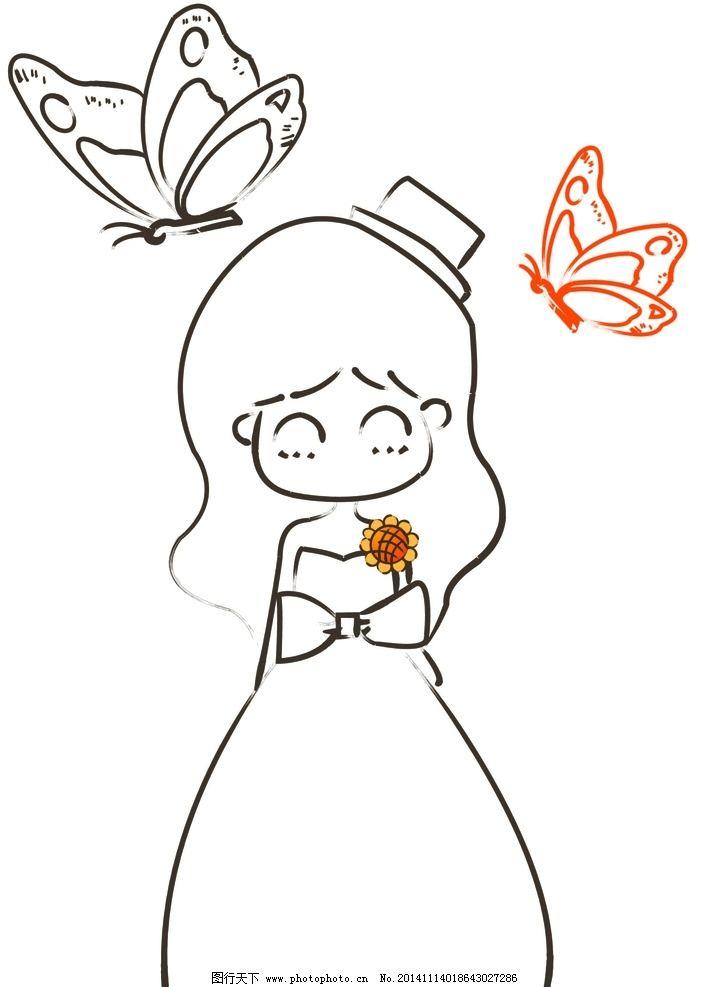 简笔画 公主图片,蝴蝶 可爱 天使 微笑 动画 卡通-图