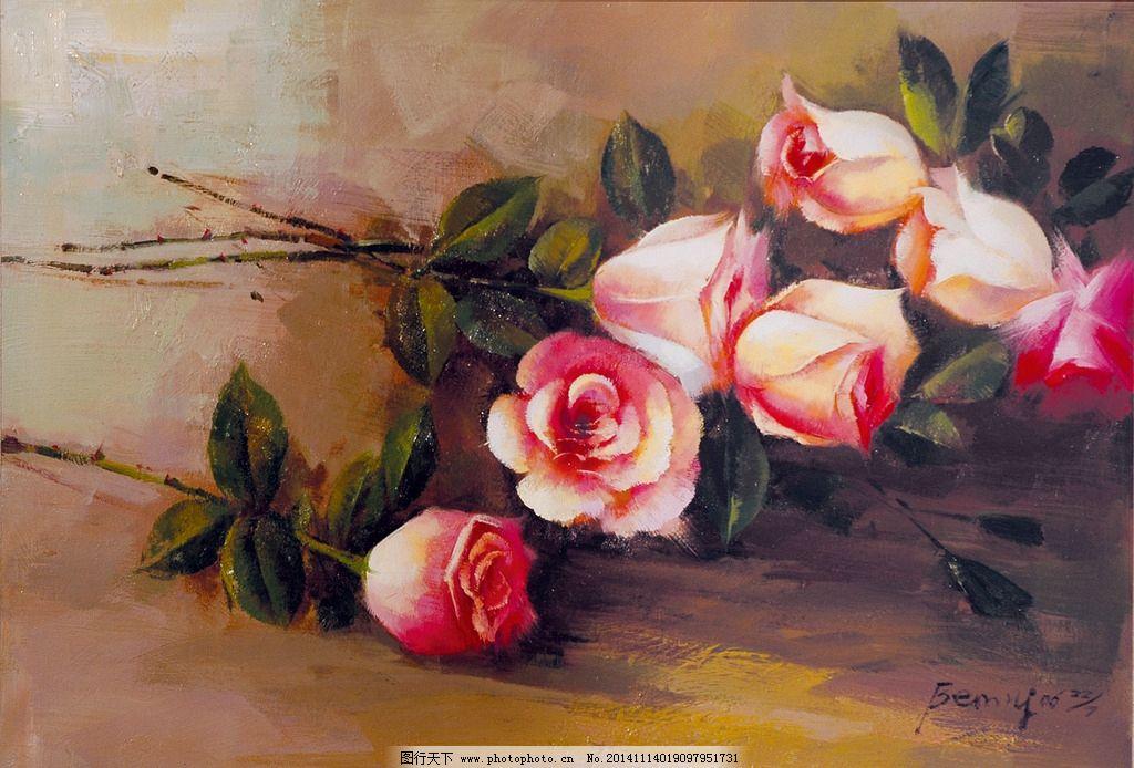 玫瑰花油画图片