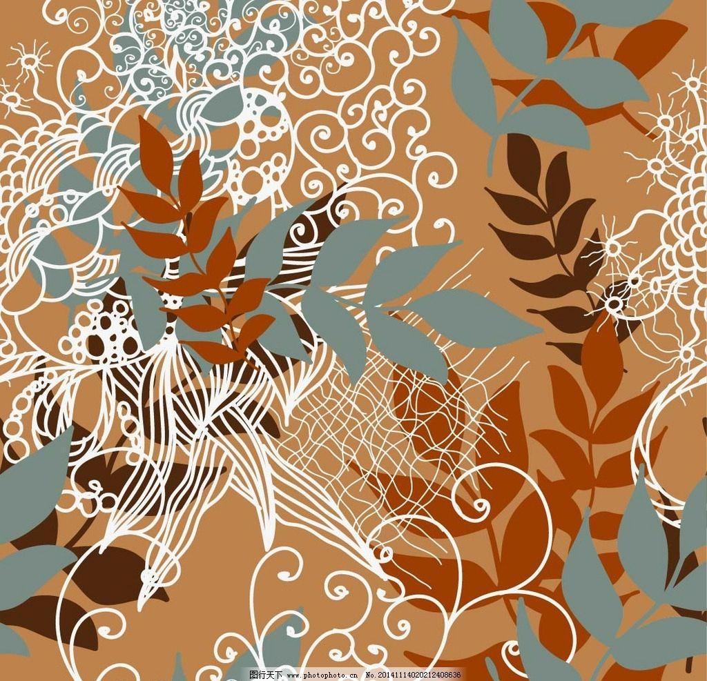 手绘花纹 叶子背景 花纹图案 树叶图案 花纹 布纹 墙纸纹 图案 印花