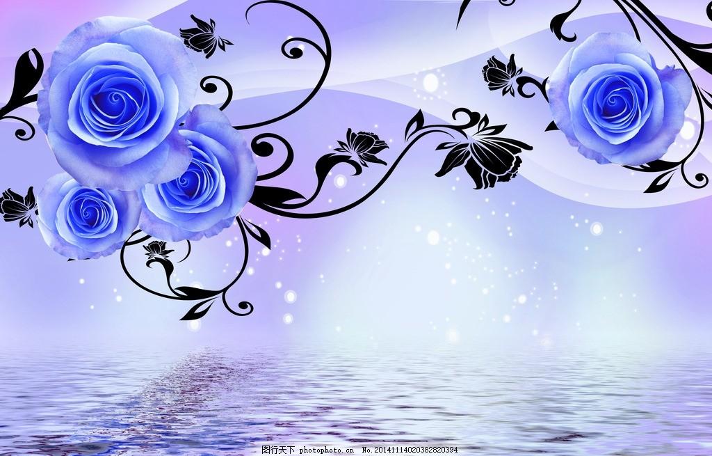 玫瑰花 蓝玫瑰 水波倒影 梦幻 分层 黑色藤蔓 蓝玫瑰花 玫瑰花朵 简约
