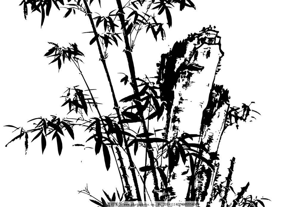 山石 竹子 草 矢量 线描 白描 国画 水墨画 线描山水 设计 自然景观