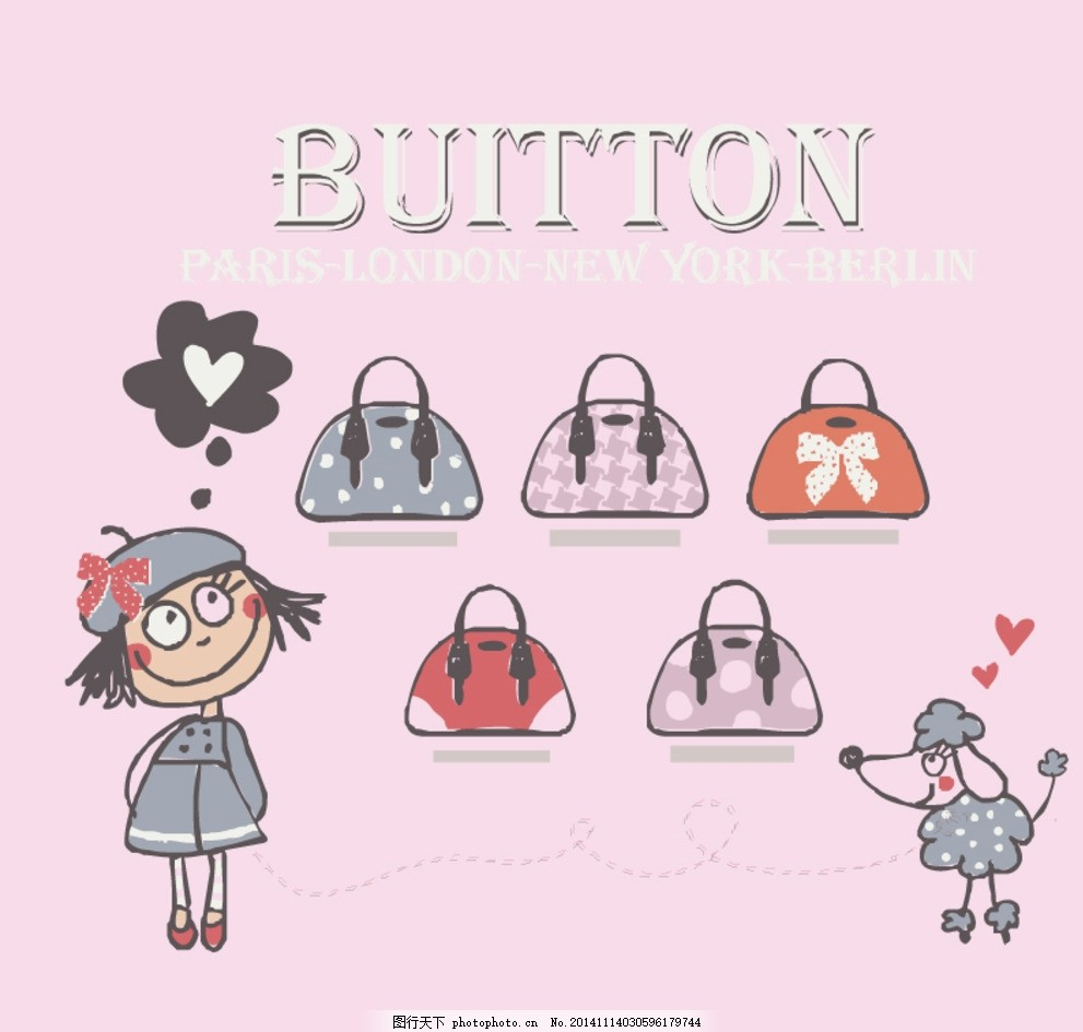 卡通宝宝 时尚包包图 卡通包图案 女包 儿童包包 手绘卡通包 手绘女包