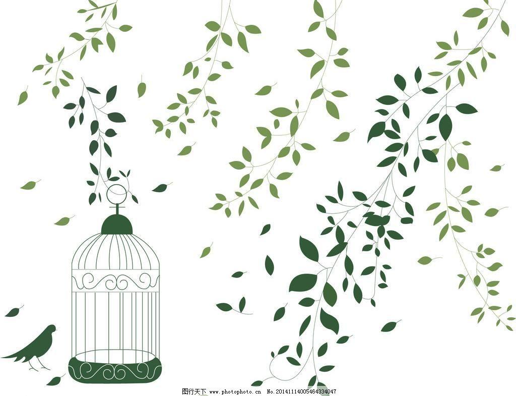 鸟笼小鸟树叶飘