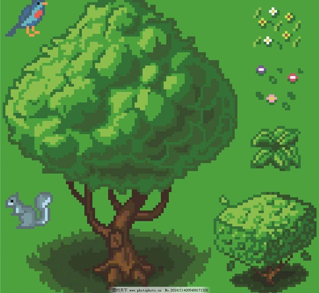 绿树 设计 卡通像素大树 大树 绿树 像素卡通 像素设计 像素动画 动