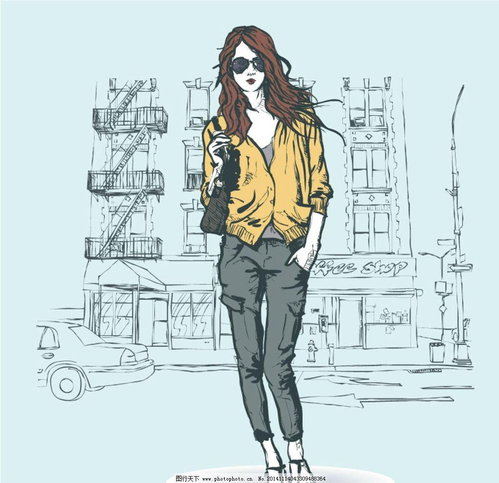 时装画 时装插画素材 时尚模特插画 酷酷女模特 时尚服装插画