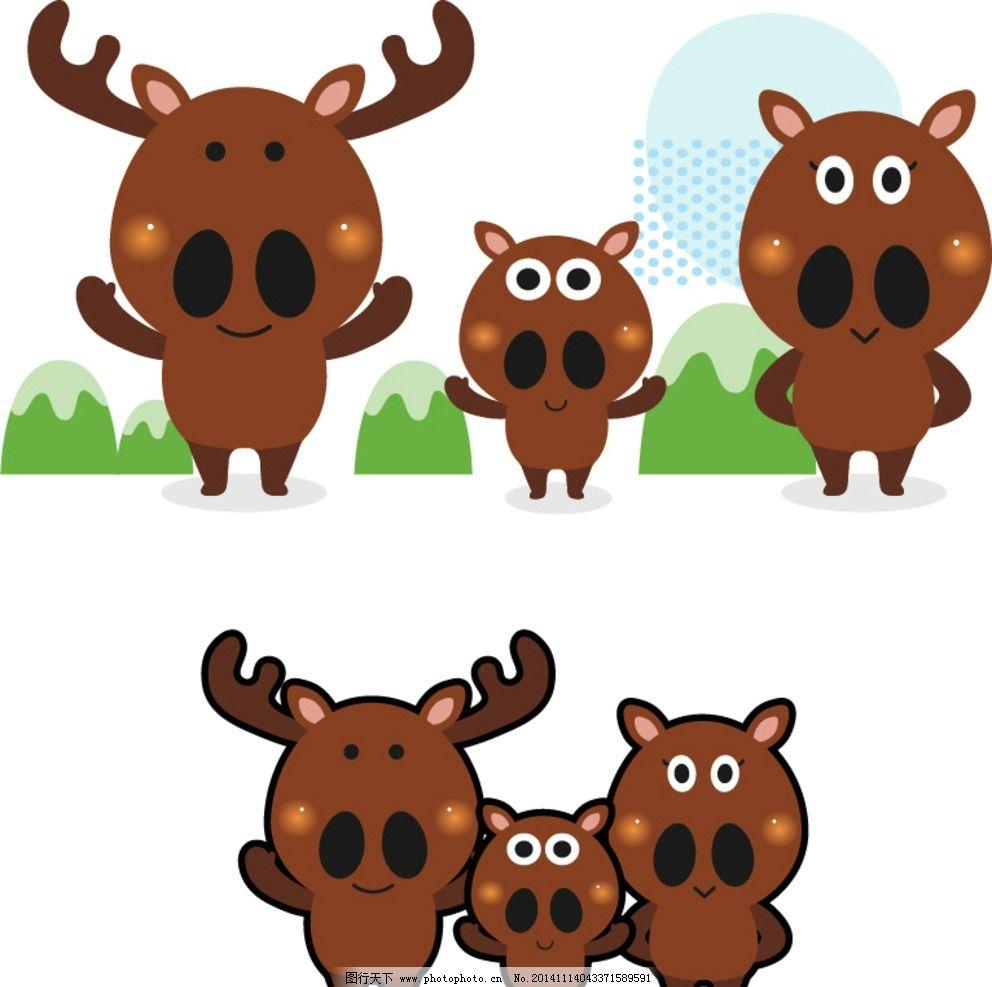 可爱 矢量 卡通 小动物 麋鹿 圣诞 手绘 素材 设计 动漫动画 其他 ai